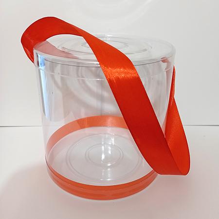 Прозрачный тубус с красной атласной лентой